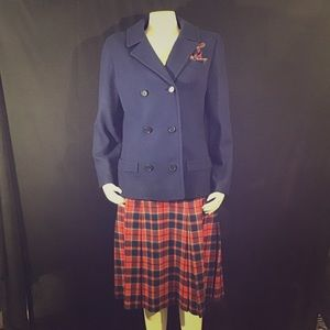 Pendleton Vintage 2 Piece Plaid Skirt Set Blazer